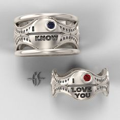 Star Wars Wedding Rings.  Precious how it has the world-killing space station in them!