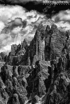 """Rock and cloud"" - (Roccia e nuvole)  Mountain landscape photography in black and white   (Dolomiti - Dolomites - Italy)"