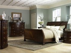 The Furniture Dark Brown Traditional Style Bedroom Set