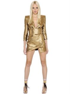 alexandre vauthier - women - dresses - asymmetrical hem silk lurex wrap dress