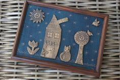 obrázek pletená pohádka veselý obrázek nejen pro děti s keramickými komponenty... rozměr A4