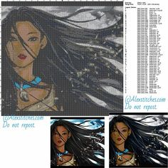 Pocahontas free cross stitch pattern 200x188 52 colors