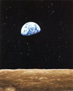 View of Earth from the moon's surface