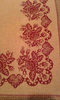 Cross Stitch Borders, Cross Stitch Flowers, Cross Stitching, Cross Stitch Embroidery, Cross Stitch Patterns, Halloween Embroidery, Crochet Tablecloth, Bargello, Crochet Motif