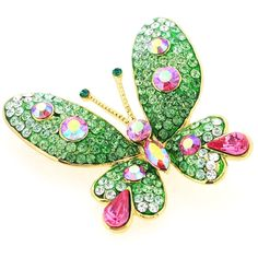 Green Butterfly Pin Swarovski Crystal Pin Brooches