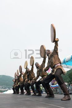 PETROPAVLOVSK-KAMCHATSKY, KAMCHATKA, RUSSIA - JULY 1, 2012: Concert of the State Academic Koryak National Dance Ensemble Mengo. July 1 - celebration Feast day of formation of Kamchatsky Krai. photo