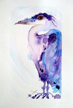 Great Blue Heron Watercolor, Original Bird Art Redbirdcottageart DAwn Derman, etsy