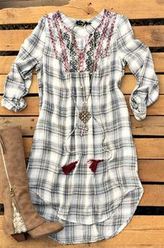 boutique clothing, plaid dress with embroidery detail