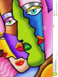 Modern Women Abstract Art Paintings Faces | Art Deco Abstract Faces Royalty Free Stock Photos - Image: 6149788