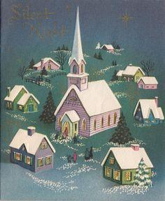 Vintage Greeting Card Christmas Landscape Church Steeple Snow i748 Christmas Card Images, Vintage Christmas Images, Christmas Scenes, Christmas Past, Cozy Christmas, Retro Christmas, Christmas Greeting Cards, Christmas Greetings, Christmas Traditions