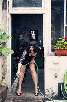 Gardening  Dress: ASOS,   Shoes: Jimmy Choo,  Photographer: Carla Coulson, Model: Gabriella Pirisi, Location: Paris atelier 6eme