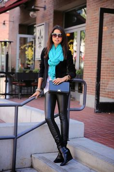 fall outfits womens fashion clothes style apparel closet ideas. VIVALUXURY: A TOUCH OF TEAL + DAY IN SAN DIEGO cyan scarf sunglasses black shoulder bag bracelet