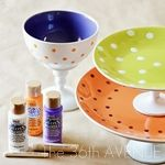 Paint and make your own ceramic candy stands. - DIY::How to paint glass and ceramics with dishwasher safe paint Diy Projects To Try, Crafts To Make, Fun Crafts, Craft Projects, Arts And Crafts, Craft Ideas, Craft Gifts, Diy Gifts, Handmade Gifts