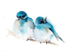 Birds Watercolor Print Two Turquoise Birds by CanotStopPrints