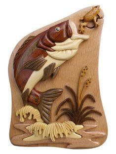 Graves y rana pescado hecho a mano caja de Puzzle intarsia hecha con Beachwood interior de fieltro para joyería, de tarjetas de regalo, o dinero.: Amazon.es: Hogar