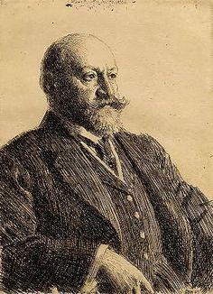 Portrait of Ernest Cassel. Etching.1909. Zorn