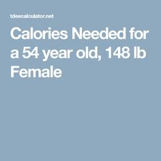 Calories Needed for