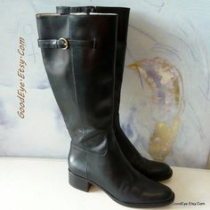 size 7 Flat HARNESS Boots Black Leather BRAZIL 90s by GoodEye