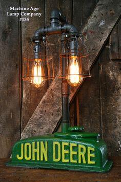 Steampunk Industrial  Lamp, Antique John Deere Farm Radiator Top - #135