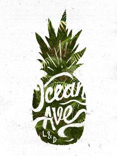 Hand-lettering overlay. Ocean Ave Lettering and Design Pineapple Logo Art Print: