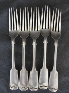 """5 Vintage Daniel & Arter DLA1 Silverplate 7 3/4"""" Dinner Fork #DanielArter"""