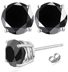 RINGJEWEL 408 ct Black Round Real Moissanite Solitaire Stud Earrings * Click on the image for additional details.
