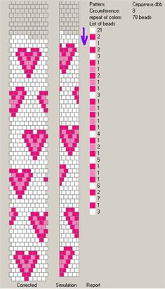 Website with 5 bead crochet rope charts . use the center Pattern on the loom . Bead Crochet Patterns, Bead Crochet Rope, Seed Bead Patterns, Peyote Patterns, Beading Patterns, Beaded Crochet, Crochet Beaded Bracelets, Bead Loom Bracelets, Beaded Bracelet Patterns