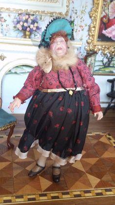 Dollhouse Artisan Marcia Backstrom Early Sculptured Older Woman Doll