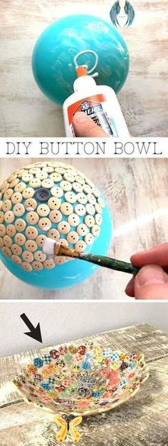 Easy and cheap craft ideas for kids and adults. I love this button bowl using just a balloon, buttons and glue! It's perfect for keys, jewelry or to sell! #EverydayArtsandCrafts<br> Diy Craft Projects, Diy Projects For Adults, Easy Diy Crafts, Creative Crafts, Diy Crafts To Sell, Craft Ideas, Diy Ideas, Sell Diy, Simple Crafts