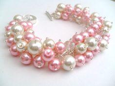 Bridal Jewelry Wedding Pearl Bridesmaid Bracelet Baby by KIMMSMITH