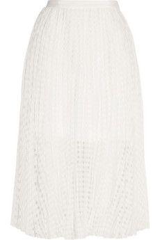 Tibi Sunray pleated checked jacquard midi skirt | THE OUTNET