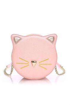 Kawaii Pink Cat Round Crossbody Bag