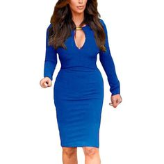 Women Sexy Club Party Slim Bodycon Vneck Mini Dress Blue XL ** Click image to review more details. (This is an affiliate link) #CasualDresses