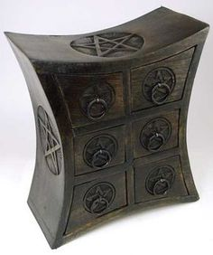 Magickal Ritual Sacred Tools:  Six-Drawer Pentagram #Herb #Cupboard.
