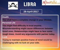 Read Your Free Libra Daily Horoscope (28-April-2017). Read detailed horoscope at astrovidhi.com. Sagittarius Daily Horoscope, Free Daily Horoscopes, Aquarius Daily, Leo Zodiac, Scorpio, Sailing Day, Feeling Fatigued, Meeting Someone New, Scorpion