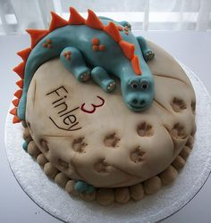 OMG....such a cute B-Day cake....wish I would have seen this when my dino-lovin' nephew was smaller :)
