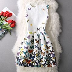 100% real small fresh ladies colorful butterfly dress girl Tutu Princess Dress