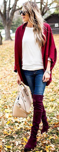 Burgundy Overknees Fall Street Style Inspo by Hello Fashion