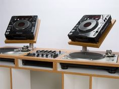 install turntables into the table + cdj's (controllers) stands