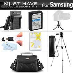 """Essential Accessories Kit For Samsung NX200, NX210, NX1000 Digital Camera Includes Extended Replacement (1200 maH) ED-BP1030 (BP1030) Battery + Mini HDMI Cable + USB 2.0 Card Reader + Deluxe Case + 50"""" Tripod withCase + Screen Protectors + More. This Battery Replaces The Original Samsung BP1030, BP1130 (ED-BP1030) Battery and is Fully Decoded! (Which Can Show Remaining Time On The Camera's LCD). AC/DC Rapid Travel Charger - Charger For Samsung BP1030, BP1130 Battery. AC/DC Rapid Travel..."""