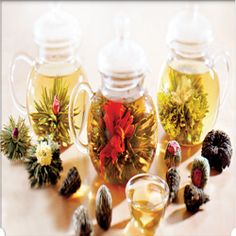 The green Blooming Tea ball is dropped into the crystal carafe with difficult gentleness do to excited anticipation.    The boiling water is poured...