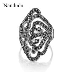 Nandudu Hollow Flower Style Rings Black Gray Austrian Crystal Cheap and Fine Ring Accessories Fashion jewelry Gift R1034 #Affiliate