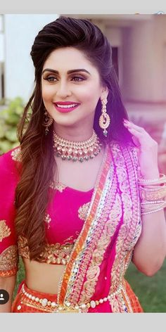 Krystle D'Souza is looking so pretty in this Indian look. She should be in movies Yes/No? Krystle D'Souza is looking so pretty in this Indian look. She should be in movies Yes/No? Lehenga Hairstyles, Indian Wedding Hairstyles, Indian Hairstyles For Saree, Desi Bride, Open Hairstyles, Bride Hairstyles, Layered Hairstyles, Engagement Hairstyles, Bridal Hairdo