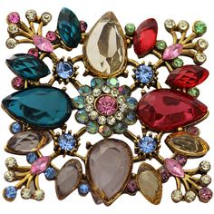 Fantastic Colorful Floral Pendant / Brooch