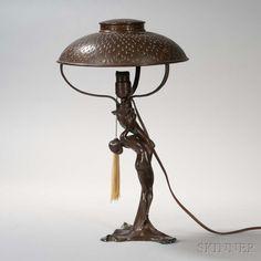 Bronze Art Nouveau Figural Lamp. | Lot 578 | Auction 2975B | Estimate $400-600 Art Deco Lamps, Art Deco Lighting, Art Nouveau, Antique Lamps, Antique Lighting, Vintage Art, Vintage Antiques, Bronze Art, Pottery Art