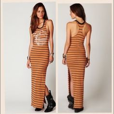FREE PEOPLE  maxi dress Brown and black stripped maxi dress. Tag says size xs but could fit up to a small :) fit is super cute :) Free People Dresses Maxi