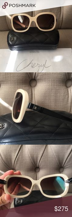 Chanel Rectangular Bow Sunnies Good pre loved condition. Minor surface scratches on arms and lenses. 💯 Authentic! With leather case CHANEL Accessories Sunglasses