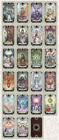 Tarot deck progress by rann-rann.deviantart.com; this deck is so pretty 8D