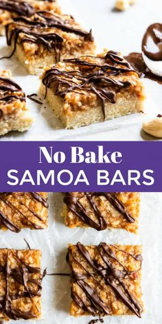 These No Bake Samoa Bars will have your Girl Scout cookie craving satisfied when it's not cookie season! Cashew coconut crust, date caramel with plenty more coconut and the perfect chocolate drizzle! A simple sweet decadent treat! #samoas #girlscoutcookies #nobake #vegandessert #nobakedessert #dessert
