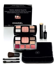 CHANEL travel make up palette TRAVEL MAKEUP PALETTE - VOYAGE makeup essentials with travel mascara eyeshadow, lip gloss, teak, mascara set